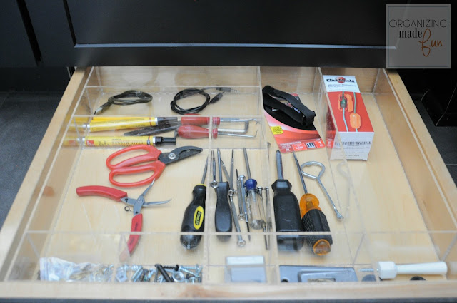 Toekick drawer organized used as junk drawer :: OrganizingMadeFun.com