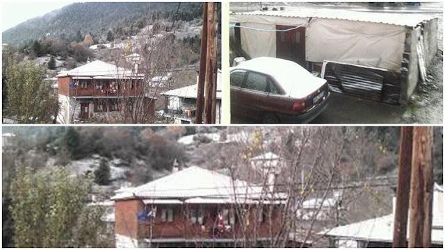 Τα πρώτα χιόνια έπεσαν σε χωριά της Αρκαδίας
