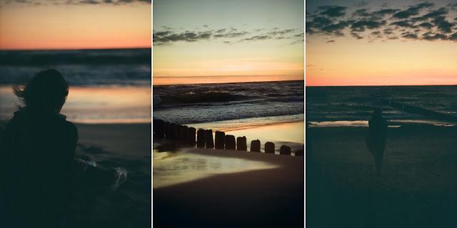 Wschód słońca na plaży w Juracie.