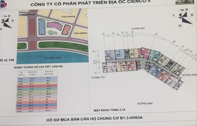 Sơ đồ mặt bằng căn hộ chung cư B1.3 HH03A Thanh Hà Cienco 5