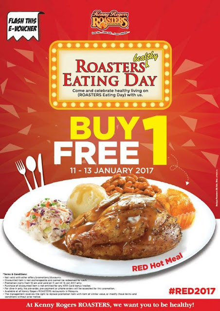 Kenny Roger ROASTERS Malaysia E-Voucher Buy 1 Free 1 Promo