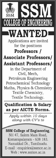 ssm college of engineering wanted professor  associate professor  assistant professor