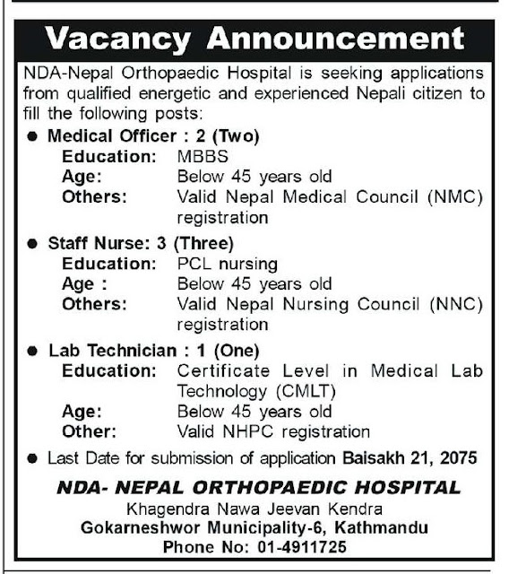 Nepal Orthopaedic Hospital Vacancy