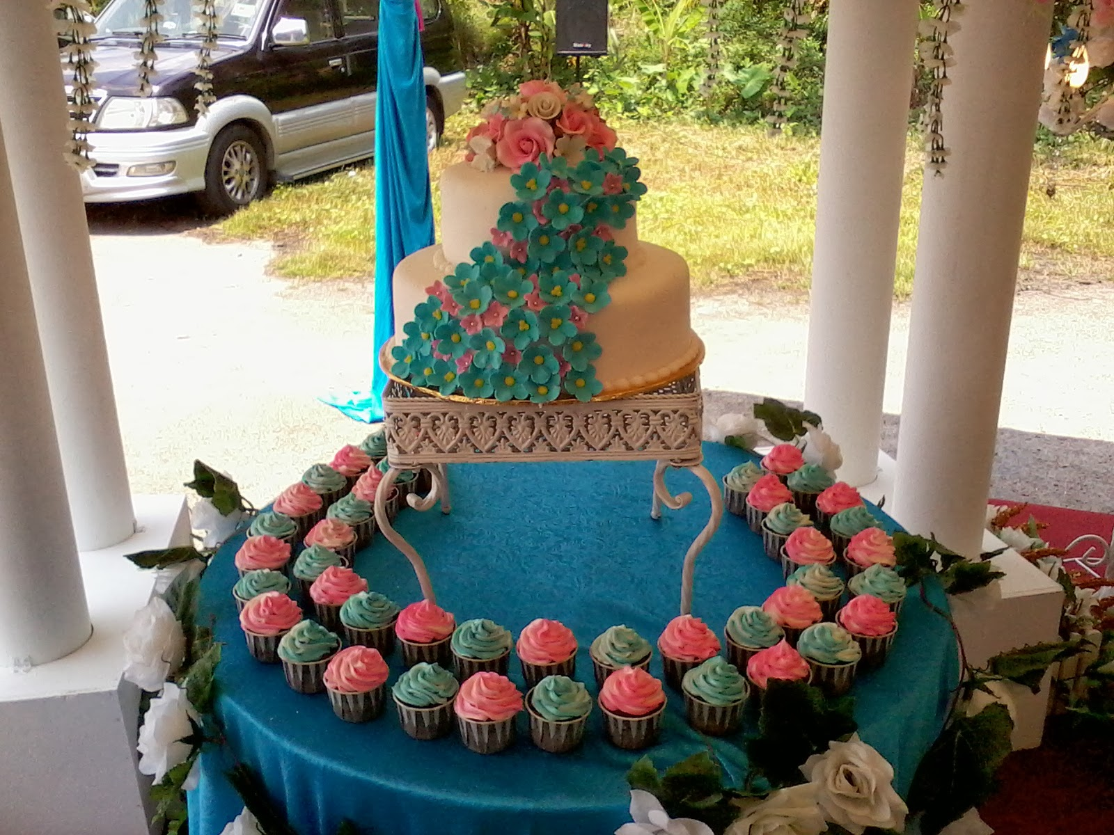 Turquoise Fuchsia Wedding: Jujucupcakes: Turquoise And Pink Themed Wedding