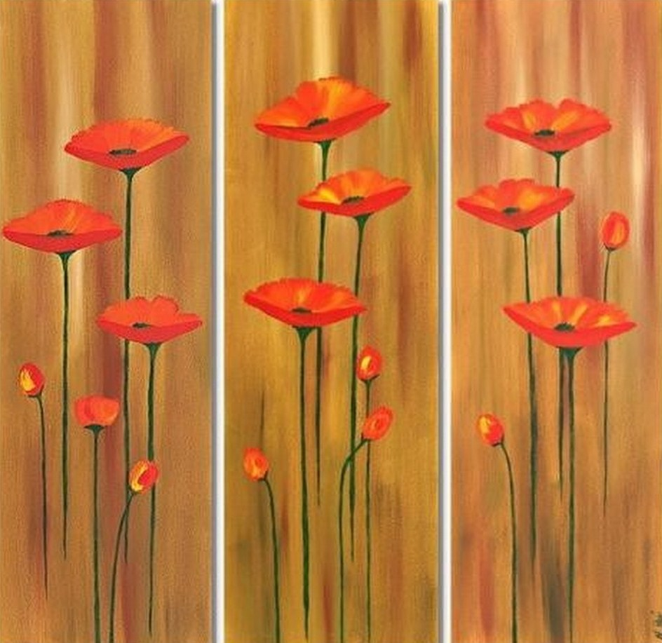 Cuadros modernos pinturas y dibujos cuadro triptico moderno de flores rojas - Triptico cuadros modernos ...