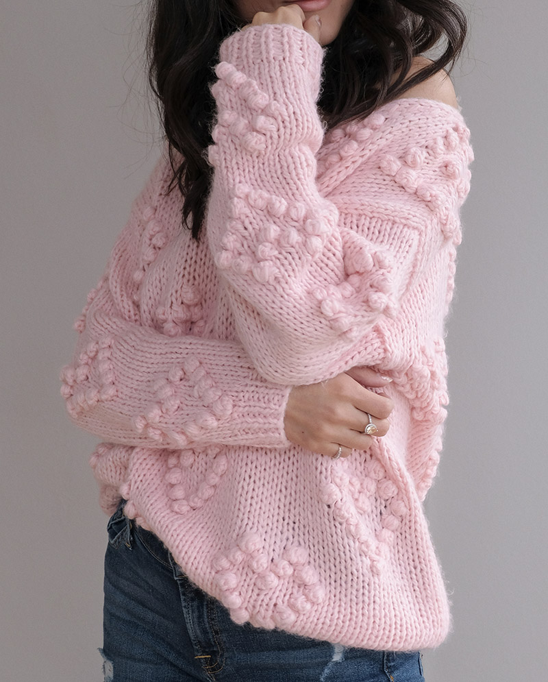 valentines outfit ideas casual, chicwish pom pom heart sweater review