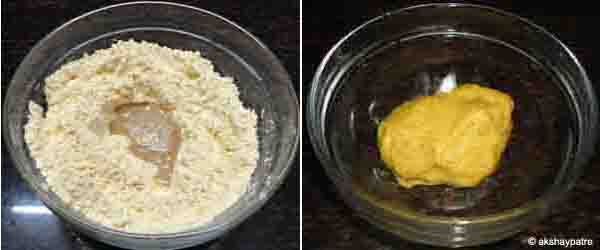 add butter and paste, then knead to a dough