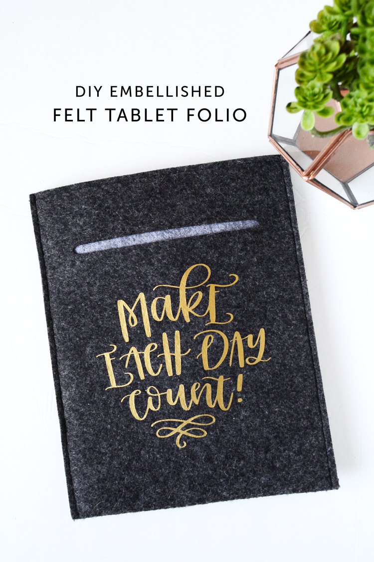 felt folio case DIY with heat transfer
