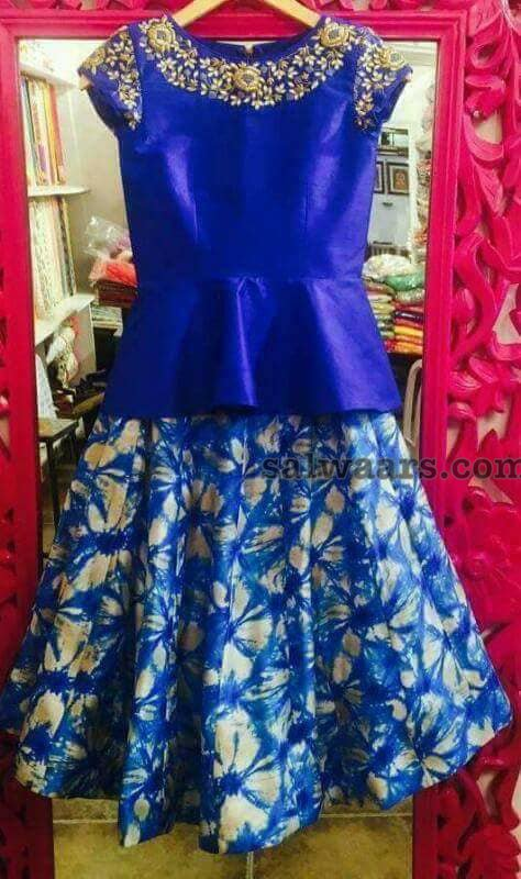 Blue Fancy Blouse and kIds Lehenga