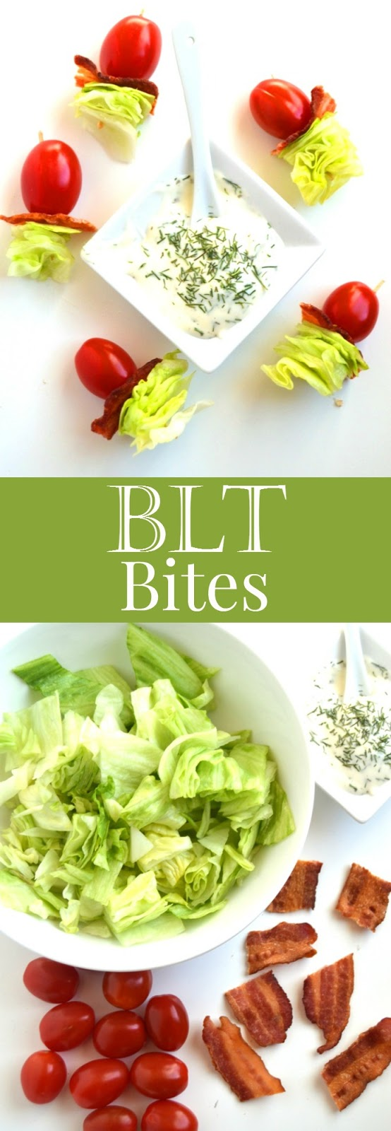 BLT Bites combine your favorite bacon, lettuce and tomato combination all on a stick with a creamy dressing for an easy and tasty appetizer that is ready in 10 minutes and is only 5 ingredients! www.nutritionistreviews.com