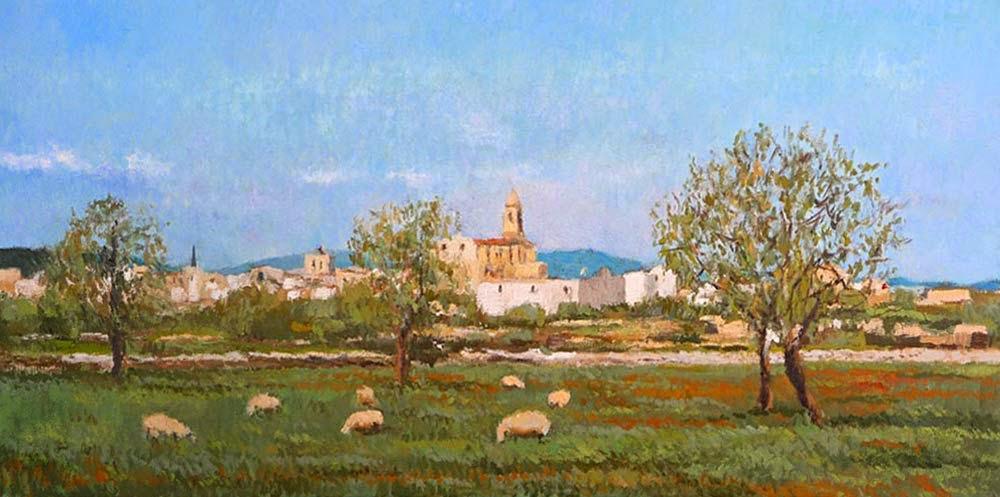 Cuadro al óleo de un paisaje de Santanyi en Mallorca