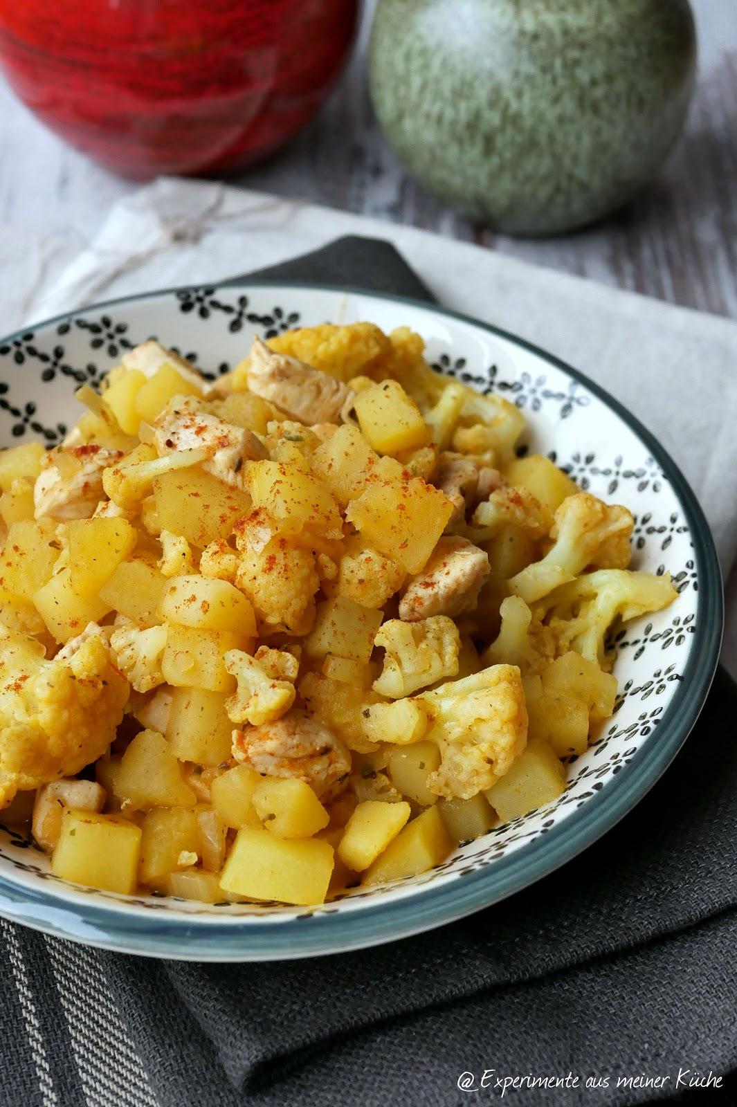 experimente aus meiner k che blumenkohl curry mit kartoffeln und h hnchen. Black Bedroom Furniture Sets. Home Design Ideas