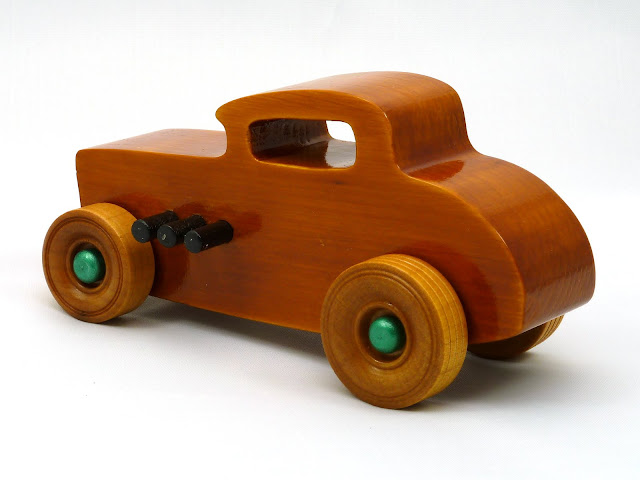 Left Side Rear - Wooden Toy Car - Hot Rod Freaky Ford - 32 Deuce Coupe - Pine - Amber Shellac - Metallic Green