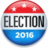 Red white and blue button with three white stars and ELECTION 2016