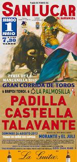 Cartel taurino Feria de Sanlúcar de Barrameda 2013