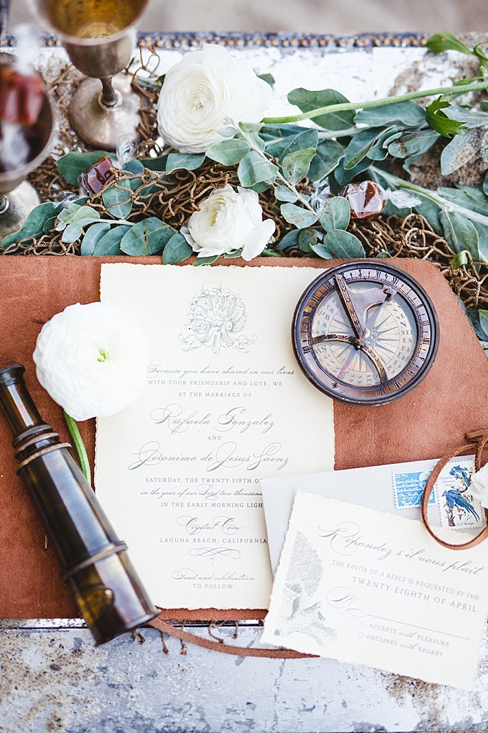 Custom Leather and Paper Wedding Invitation with Nautical Details by Jasmin Michelle Designs | Photo: Damaris Mia Photography