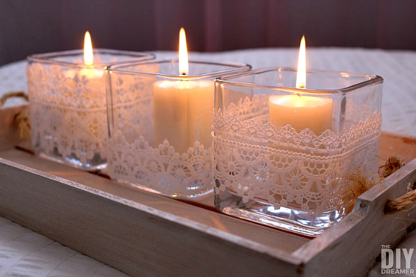 Romantic Lace Candle Holders from DIY Dreamer