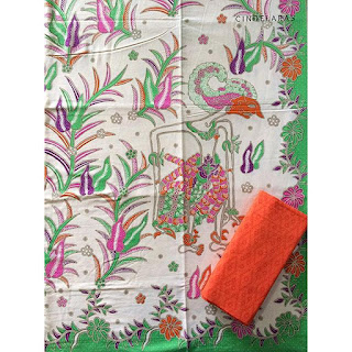 kain batik printing wayang hijau mix embos