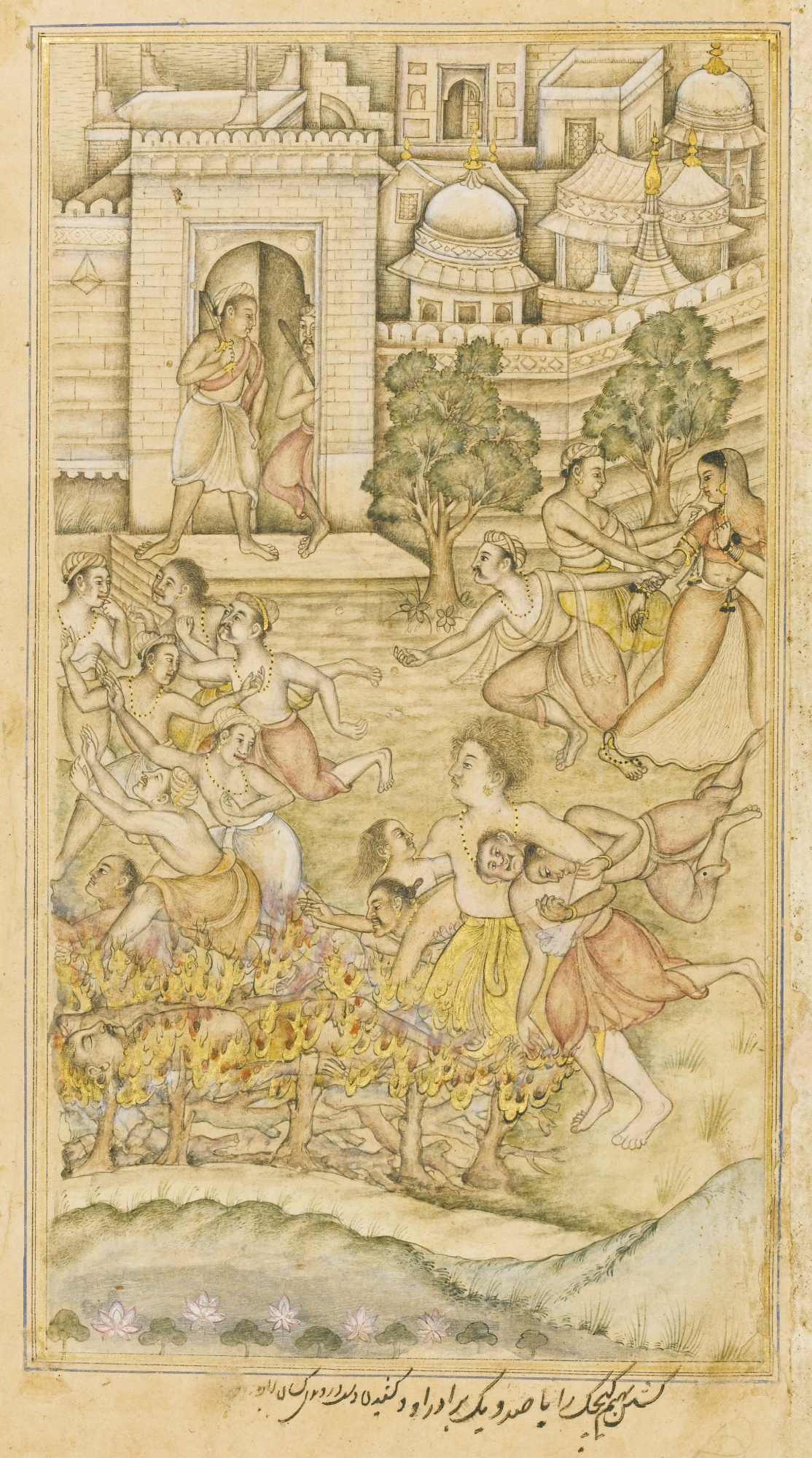 Bhima Kills Kichaka and his brothers, signed by Dhannu - Mughal Miniature Painting, circa 1598-99