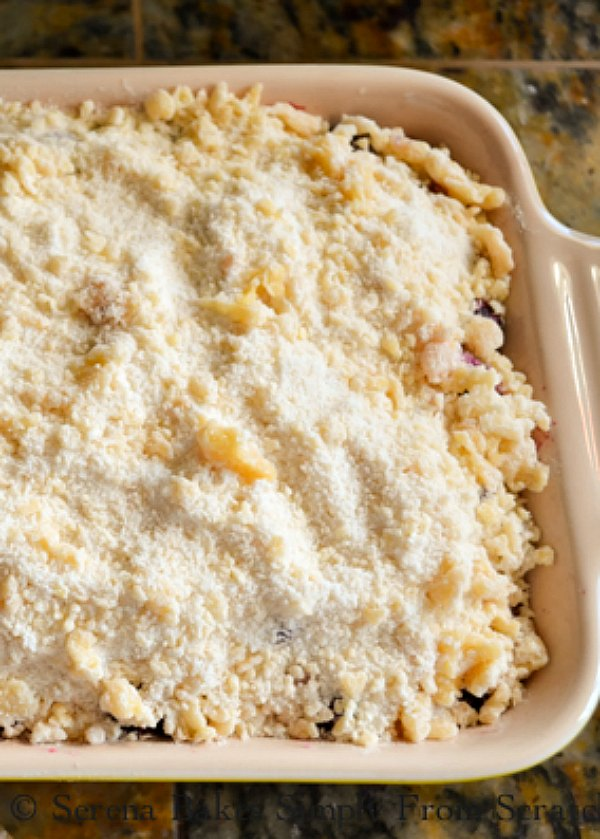 Blueberry Cobbler Filling covered with easy topping.