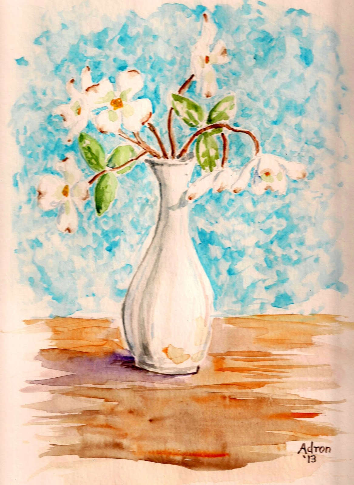 Artist Adron Dogwood Blossoms In A Bud Vase Watercolor