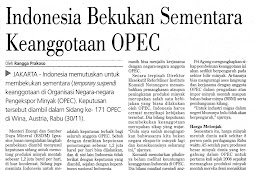 Indonesia Temporarily Freezes OPEC Membership