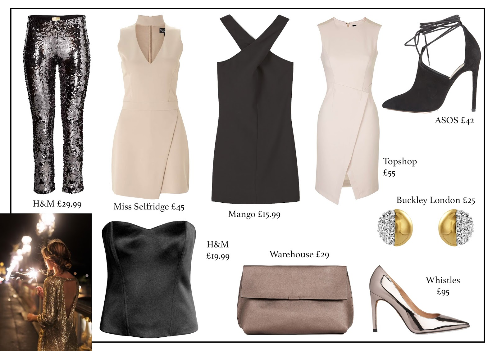 new years eve, fashion, aw16, fashion blog, h&m, miss selfridge, mango, topshop, asos, warehouse, buckley london, whistles
