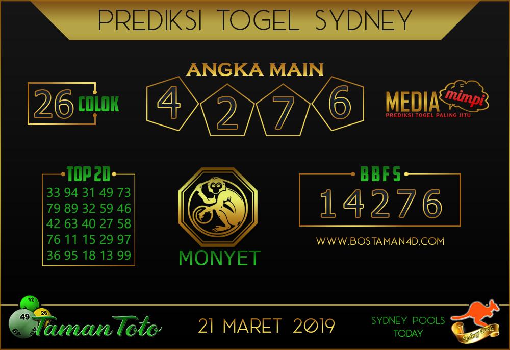 Prediksi Togel SYDNEY TAMAN TOTO 21 MARET 2019