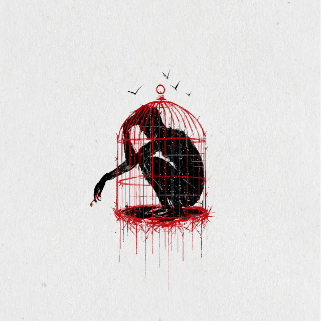 black, red, white, graphics, cage, blood, art, shell, batterfly