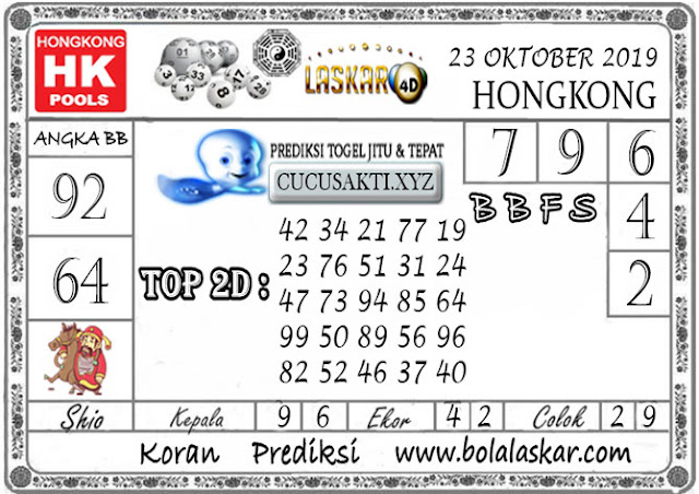 Prediksi Togel HONGKONG LASKAR4D 23 OKTOBER 2019