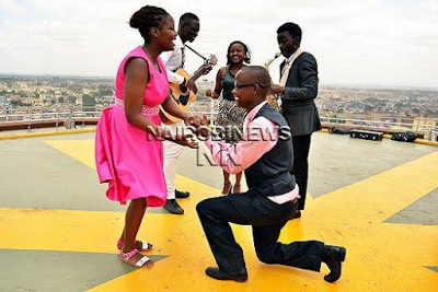 Kenyan man who met his bae on Facebook proposes to her on one of the country's tallest buildings