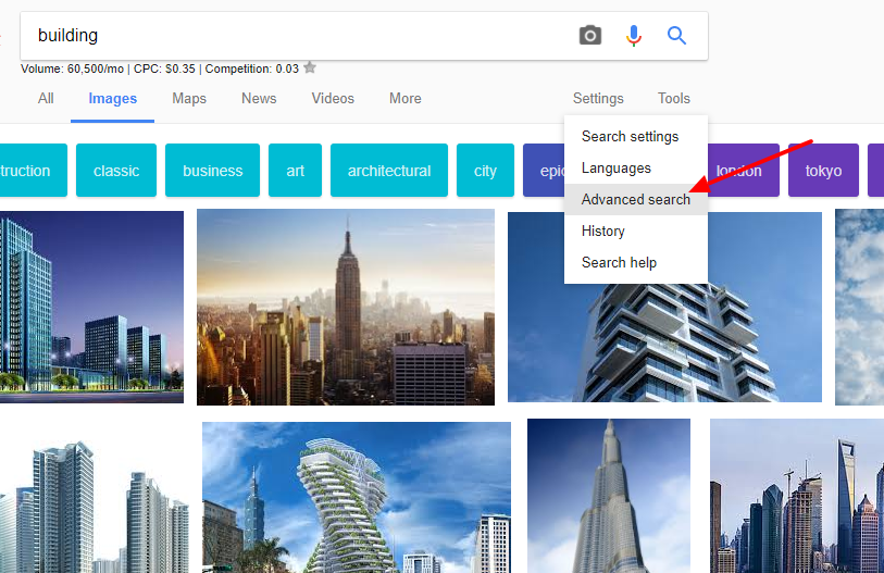 Advanced Search - Royalty free images on Google