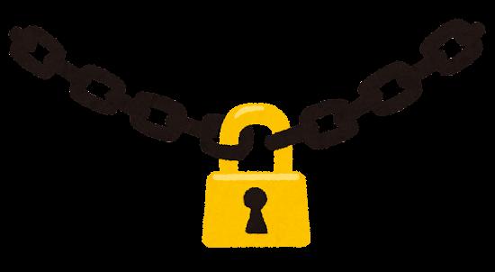 シンプルな南京錠のイラスト(鎖つき)