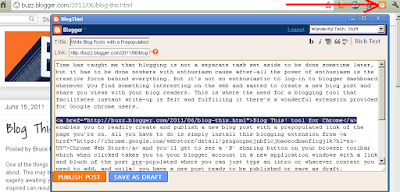 Snapshot of BlogThis! Extension for Chrome in Action