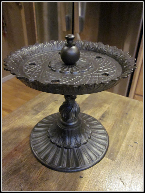 Pedestal dish from old lamp parts and painted bronze