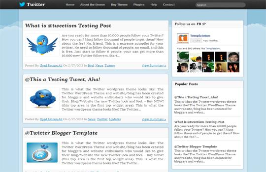 twitter theme blogger