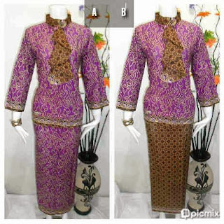 Baju Batik Setelan Rok Blus Warna Ungu