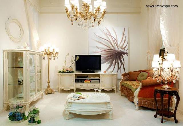 Sala de estar con muebles clásicos estilo Provenzal actualizada