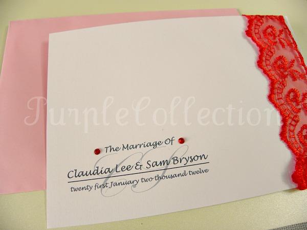 Lace Theme Wedding Invitation Card, wedding invitation card, lace theme card, lace card, lace invitation card, wedding card, handmade card, red