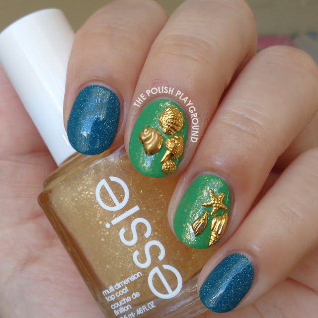 Green & Gold Flakie with Beach Themed Nail Studs Nail Art