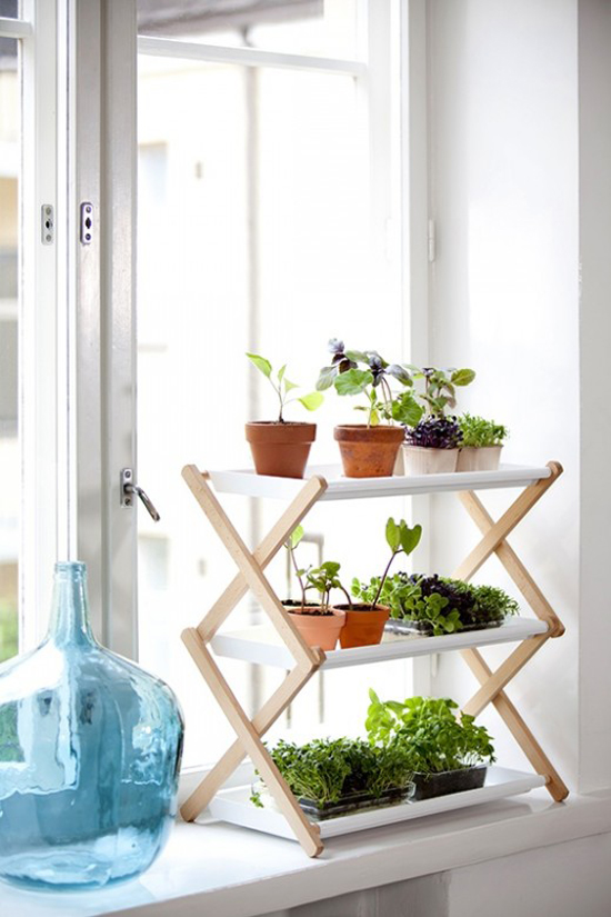 Shelves for growing herbs indoors by Hasselfors Garden via Elle Interiör #plants