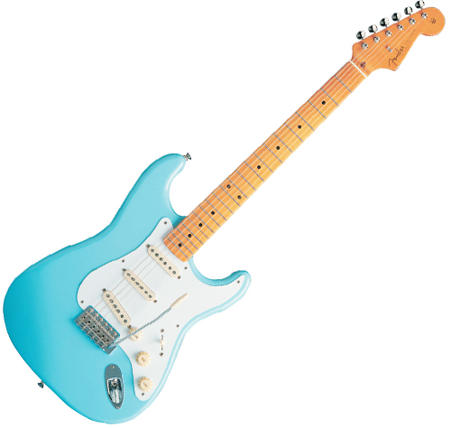 blue fender stratocaster guitar
