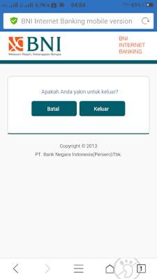 Cara Logout BNI Internet Banking