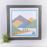 Mountain landscape print and stitch on card paper pricking embroidery pattern for framed wall art picture making.