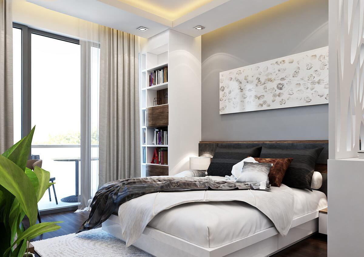 Phòng ngủ căn 2 ngủ chung cư Grandeur Palace Phạm Hùng.
