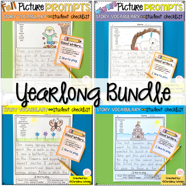Writing Picture Prompts~ These picture prompts naturally differentiate your writing center. Each page has key vocabulary to support kindergarten, first and second grade writers. These are a perfect addition to your work on writing center!