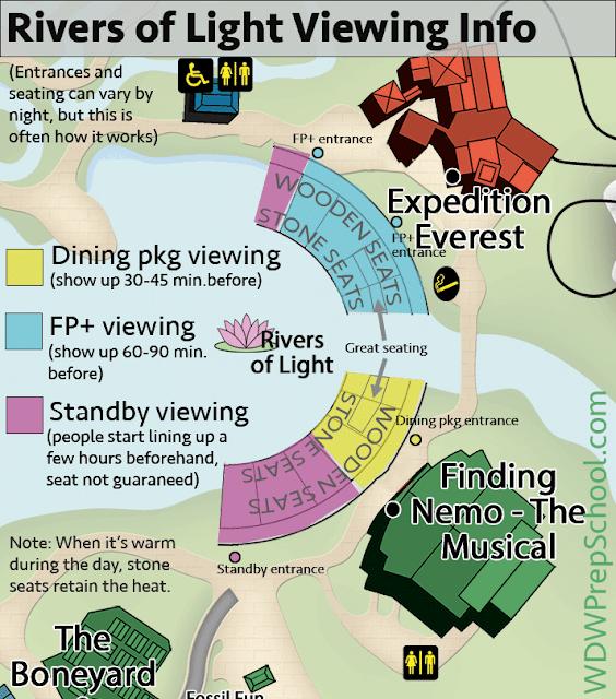 Mapa dos melhores lugares para ver o River of Lights