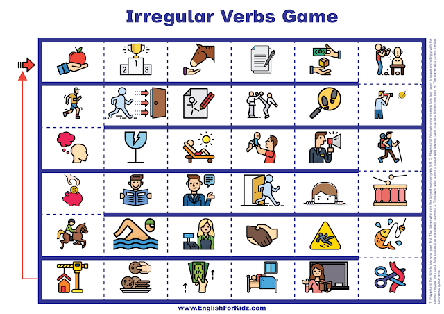 Irregular verbs game - printable board game for English learners