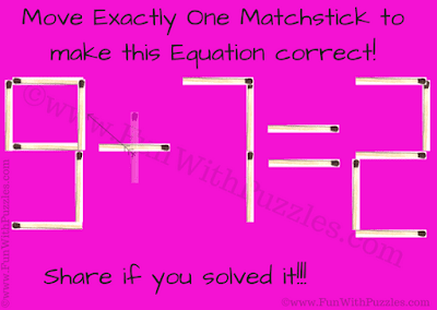 Answer of Matchstick Math Brain Teaser for Kids