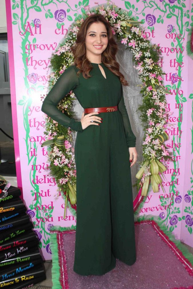 Tamannaah Bhatia Stills In Green Dress Nishka Lullas Wedding Brunch Party